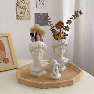 Nordic Style David Human Head Statues Resin Makeup Brush Holder Vase Home Decor