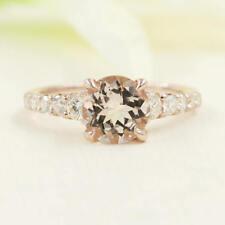 2.0ct Natural Morganite Morganite Engagement Ring.Simple Diamond Solid Gold Ring