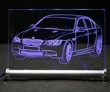 Autogravur   BMW M3 E90 als  Gravur auf LED-Leuchtschild