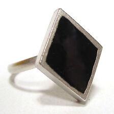 Ring SoHo® schwarze Raute retro resin Kunstharz schwarz gothic geometrie