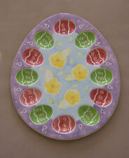 Easter Deviled Egg Platter Dish Ceramic Colorful Bella Casa 13 in. x 11 in.