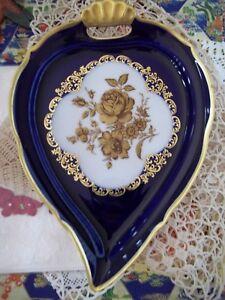 Vtg W Germany Porcelain Lindnet Kueps Bavaria Echt Cobalt Gold trim Leaf Dish