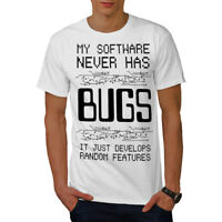 Wellcoda Bugs Programmer Mens T-shirt, Glitch Graphic Design Printed Tee