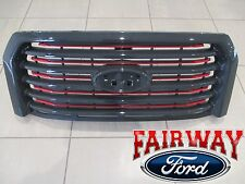 15 thru 17 F-150 OEM Ford Lariat Special Edition Red Accent Grille Grill w/o Cam