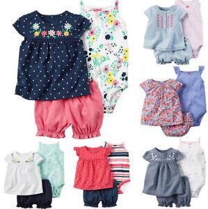 3pcs New-born Infant Baby Girl Outfits Clothes Set Romper Tops + Pant Jumpsuit