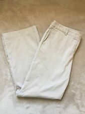 Lands End Womens Chinos Trousers Cream Beige Size 16 97% Cotton