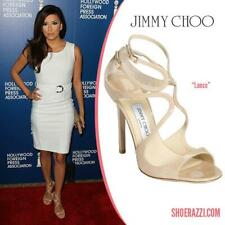 $795 JIMMY CHOO Nude Patent LANCE Size 39 Strappy Sandals Heels Shoes