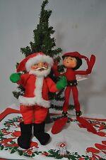 1987 Annalee Christmas Santa Claus Doll & 2006 Jingle Bell Elf