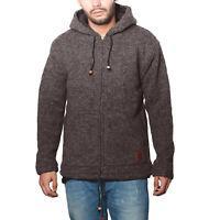 Herren Strickjacke Wolle Jacke mit warmen Fleecefutter und Kapuze