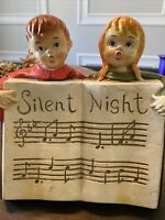 Vintage Christmas choir Boy and Girl Angels Music sheet notes Silent Night