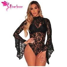 Womens Bodysuits Sheer Floral Lace Long Bell Sleeve Playsuit Bodycon Jumpsuit