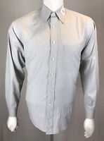 Mens Valentino Uomo 15 1/2 - 34/35 Medium French Gray + Tan Micro Stripes Cotton