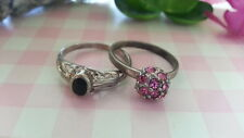 Beautiful Two Black Onyx Pink Rhinestone Ball Rings Sterling Silver*Size 7 *D159