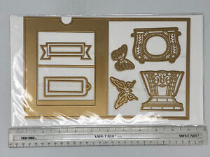 Anna Griffin 6x10 Card Tag Butterfly Frame Embossing Stencil Cutting Dies