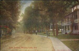 Winona Lake IN Park Ave c1910 Postcard