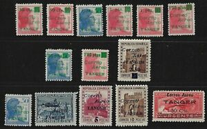 SPAIN TANGIER 1939 AIR MAILS STAMPS OF SPAIN OVPT CORREO AERO TANGIER SET OF 14