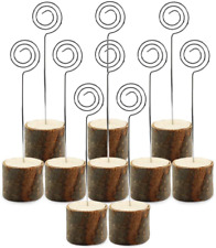 Wpxmer 10 Pack Real Wood Table Card Holders Photo Clip Holder Stand Number Holde