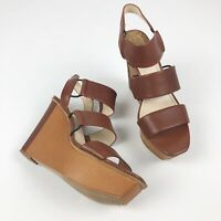 VINCE CAMUTO NISKERA Sandals Womens Size 8 Wedge Brown Ankle Strap EUC