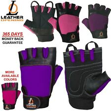 Ladies Weight Lifting Gloves Leather Gym Training Body Building Fitness Padded