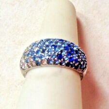 NATALYIA V COLLISTER NVC Signed Sterling Silver Pave Rhinestone Gradient Ring 6