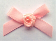 10 RIBBON BOWS with FLOWER  ( Pink ).