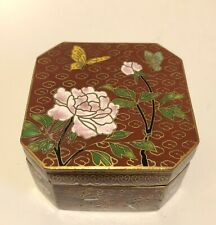 Vintage Chinese Cloisonne Enameled Brass Floral Blue Jewelry Trinket Box
