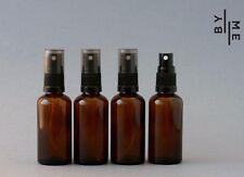 4 x 50ml Amber Glass Spray bottles with black fine mist sprayer