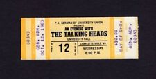 1983 Talking Heads Unused Concert Ticket Charlottesville Va Speaking In Toungues