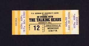 1983 Talking Heads Unused Concert Ticket Charlottesville VA Speaking In Toungues
