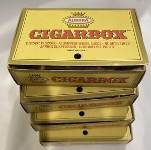 1967 Lot Of 4 AURORA Cigar Box Die cast Cars IN BOX vintage 6108 6109 6110 Rare