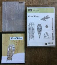 Stampin Up WINTER WISHES stamps DEER BIRCH TREES Embossing Folder Christmas Sled