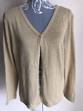 Collection Womens Cardigan Size 14-16 Gold Lightweight Silk Blend Long Sleeved