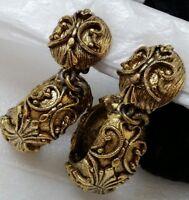 Impressive Vintage Tortolani Ornately Adorned Antique Finish Hoop Clip Earrings