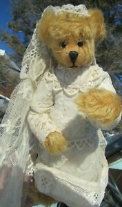 "VINTAGE MOHAIR TEDDY BEAR GIRL LACE WEDDING DRESS ARTIST ADVANTAGE 9"" BENTARMS"