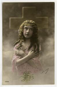 c 1910 Child Children Cute CROSS of FAITH Girl photo postcard