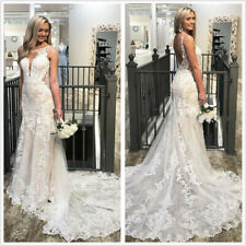Mermaid Wedding Dresses Backless Ivory Lace Applique Sleeveless Bridal Gown 2-26