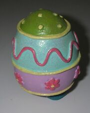 Collectible Decorative Egg Beaded gold trim green/blue/pink/mauve Easter