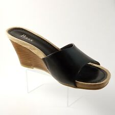 Bass Carmela Sandal Women Size 6.5 Black Leather Wedges