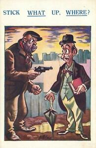 RUDE RISQUE COMIC STICK WHAT UP, WHERE? ROBBER with GUN and GENTLEMAN POSTCARD