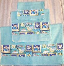 Home Decor' Towel Bath Set 3 Pcs Hand Towel Wash Cloth Aqua Happy Baby Moon Star