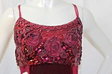 Party Dress Burgundy Beaded Applique Bodice Spaghetti Straps  Womens L Large