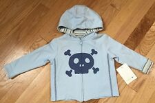 Boys Infant Skull Layette Hoodie Jacket 12 Months Blue Amy Coe NWT