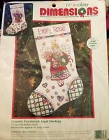 "Dimensions country Patchwork Angel 16"" Stocking Counted Cross Stitch Kit 8465"