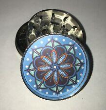Blue Mandala Flower Silver Tobacco Metal Grinder HandMuller Herbal Smoke Crusher