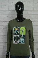 DANIELE ALESSANDRINI Maglia Donna Taglia S Polo Manica Lunga Shirt Cotone Verde