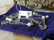 TORY BURCH PEARL LOGO CHARM ROSARY NECKLACE NWT + POUCH