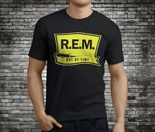 New REM Out Of Time Alternative Rock Band Black T-Shirt Size S-3XL