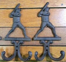 BASEBALL Decor HOOKS Coat Hat Wall Rack rustic cast iron antique vintage style