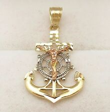 Men's Ladies Womens 10k Tri Color Gold Mariners Anchor Cross Crucifix Pendant