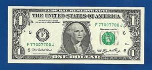 2006 CH/CU $1 FANCY BINARY REPEATER NOTE SERIAL #F77007700J